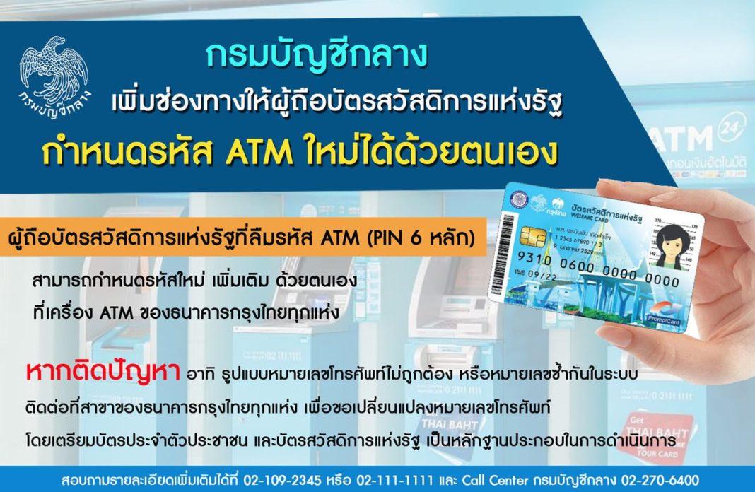 กรมบัญชีกลาง เพิ่มช่องทางให้ผู้ถือบัตรสวัสดิการแห่งรัฐ กำหนดรหัส ATM ใหม่ กรณีลืมรหัส