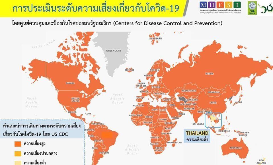 สหรัฐฯ เผยไทยติดโผ 1 ใน 7 ประเทศที่มีความเสี่ยงโควิด-19 ต่ำ ย้ำ‼ ยังต้องการ์ดอย่าตก สวมหน้ากากอนามัย ล้างมือบ่อยๆ