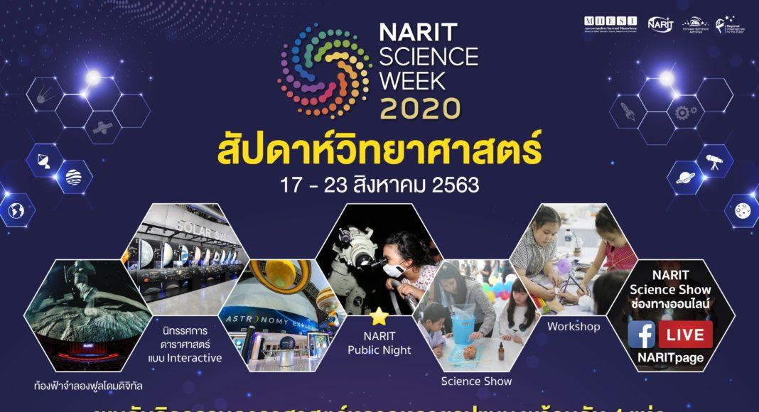 """สดร. ชวนเที่ยวงานสัปดาห์วิทยาศาสตร์ """"NARIT SCIENCE WEEK 2020""""17 - 23 สิงหาคมนี้ จัดใหญ่พร้อมกัน 4 ภูมิภาค"""